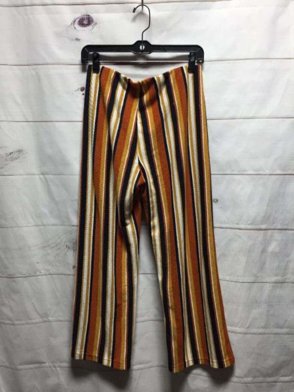 product details: RETRO VERTICAL STRIPED PULL-UP CULOTTE PANTS W/ ELASTIC WAISTBAND photo