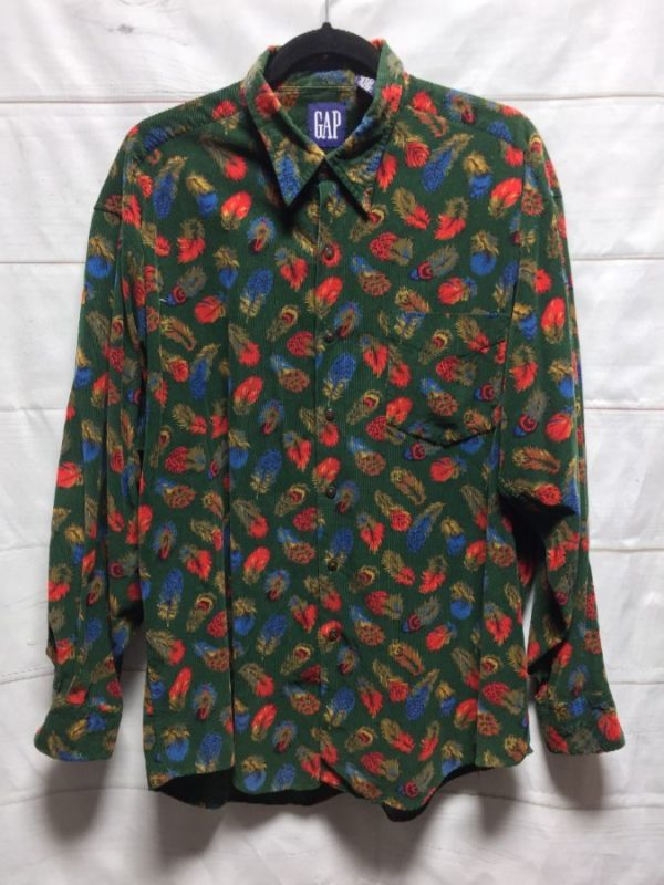 product details: MINI CORDUROY LONG SLEEVE BUTTON UP SHIRT FEATHER PRINT photo