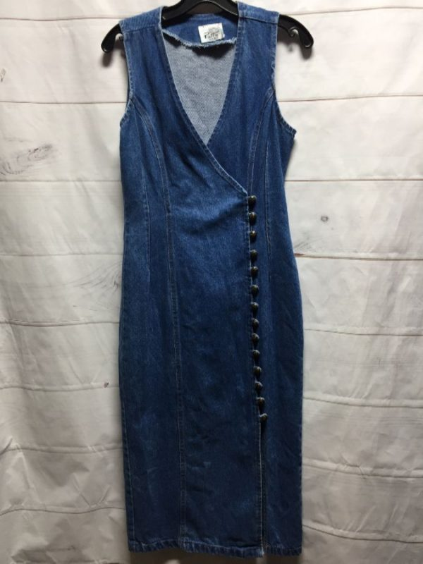 product details: AMAZING 1990'S LONG DENIM DRESS W/ LACE-UP BACK photo