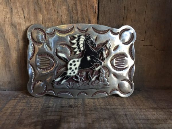 product details: RECTANGLE SHAPED NICKEL METAL BELT BUCKLE W/ DECORATIVE STAMPING & APPALOOSA HORSE DESIGN photo