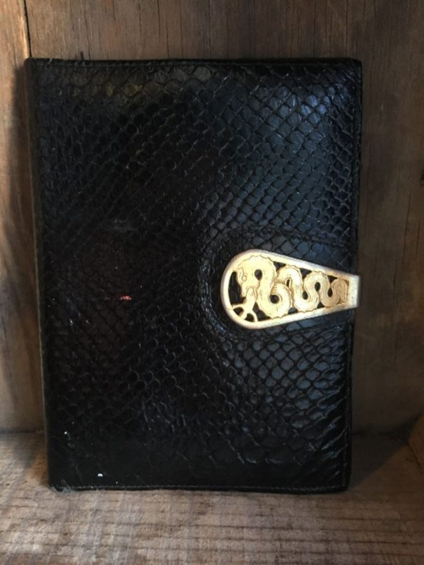 product details: RETRO EMBOSSED FAUX SNAKESKIN LEATHER WALLET W/ DRAGON CLASP photo