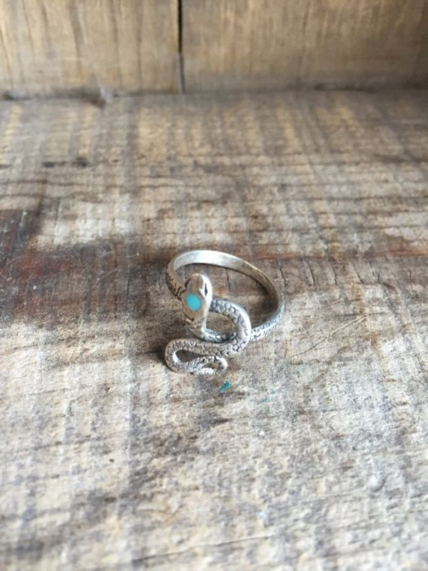 product details: STERLING SILVER ADJUSTABLE SNAKE RING WITH TURQUOISE STONE photo