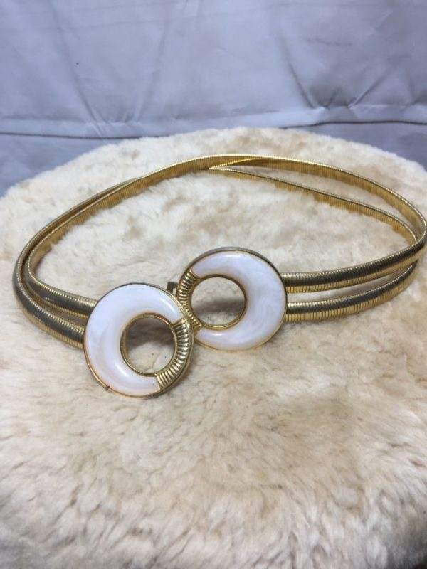 product details: 1980'S ELASTIC METAL STRETCH BELT W/ DOUBLE STRANDS photo