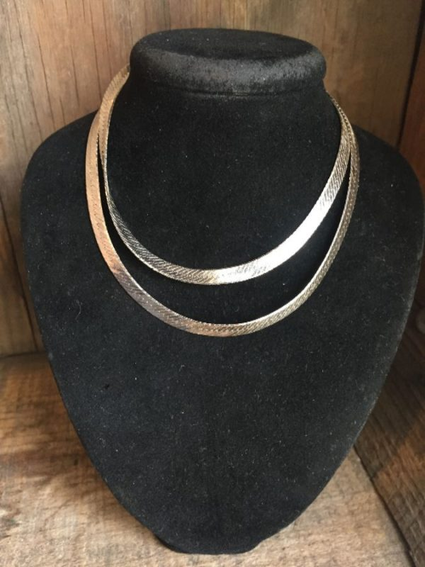 product details: STERLING SILVER 925 FLAT COBRA STYLE CHAIN AS-IS SOME KINKS photo