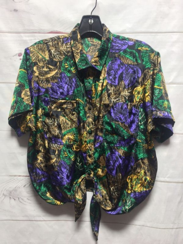 product details: 1980S METALLIC JUNGLE PRINT CROP TOP BUTTON UP SHIRT TIE FRONT photo