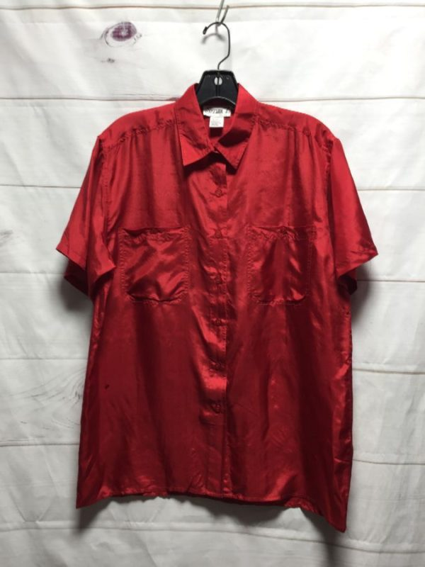 product details: CLASSIC 100% SILK BUTTON UP BLOUSE BOX FIT photo