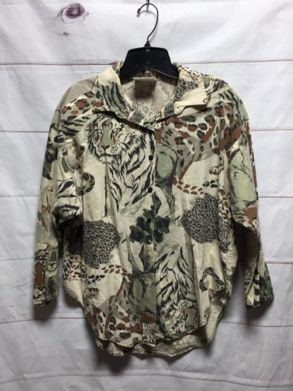 product details: 1980S MIXED SAFARI PRINT LONG SLEEVE BUTTON UP COTTON BLOUSE - AS IS photo