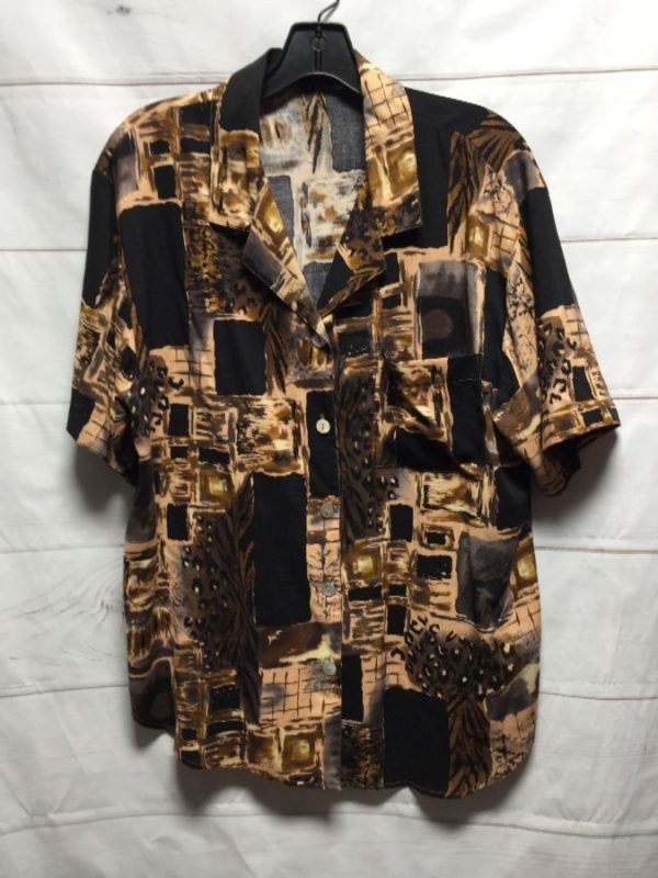 product details: 1990S FUNKY PRINTED NEUTRAL COLORED BUTTON UP RAYON SHIRT photo