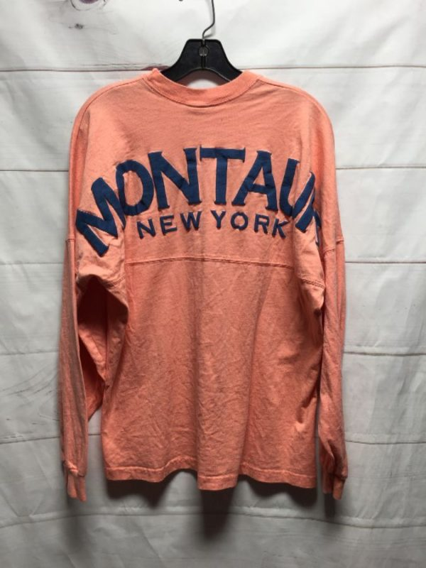 product details: 1990S LONG SLEEVE HEAVY COTTON SHIRT MONTAUK NEW YORK PUFF GRAPHIC photo
