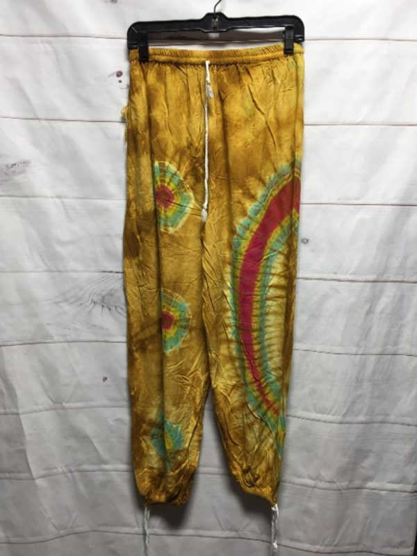 product details: BOHO HIPPY TIE DYE PANTS WITH ANKLE DRAWSTRINGS photo