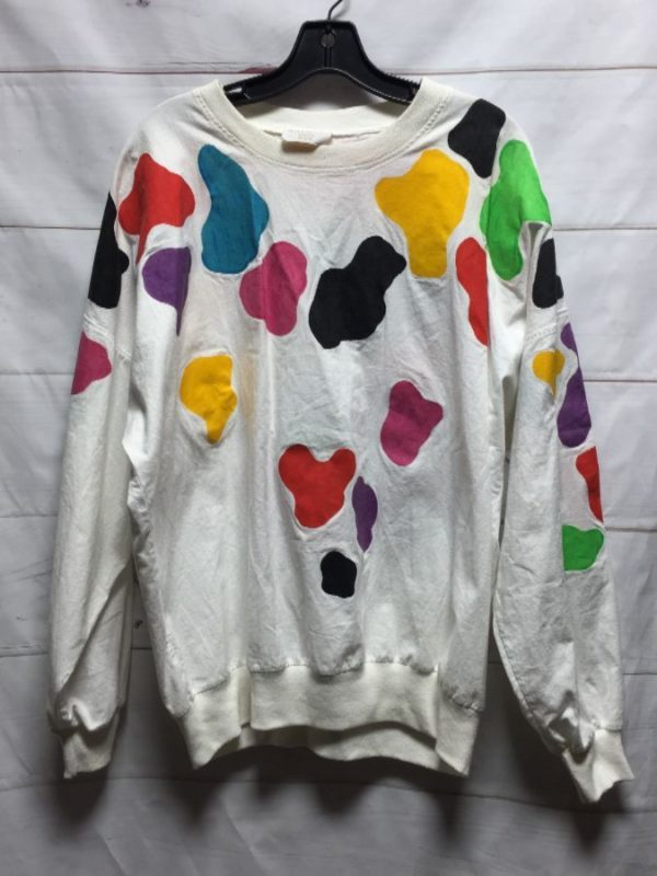 product details: 1980S FUNKY COLOR SPOTS LONG SLEEVE COTTON SHIRT photo