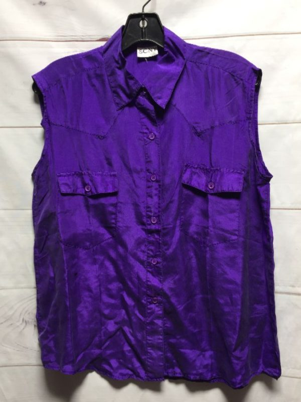 product details: 100% SILK SLEEVELESS BUTTON UP BLOUSE photo