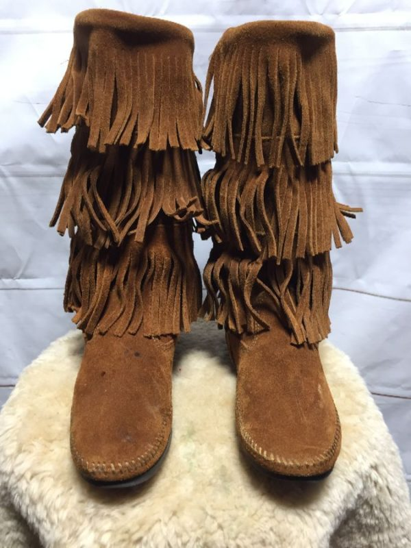 product details: MINNETONKA TRIPLE LAYER TALL SUEDE FRINGE BOOTS photo