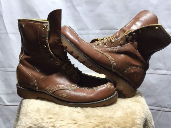 product details: CLASSIC SOFT BROWN LEATHER LACE UP WORK BOOTS CONTRAST STITCHING  - AS IS photo
