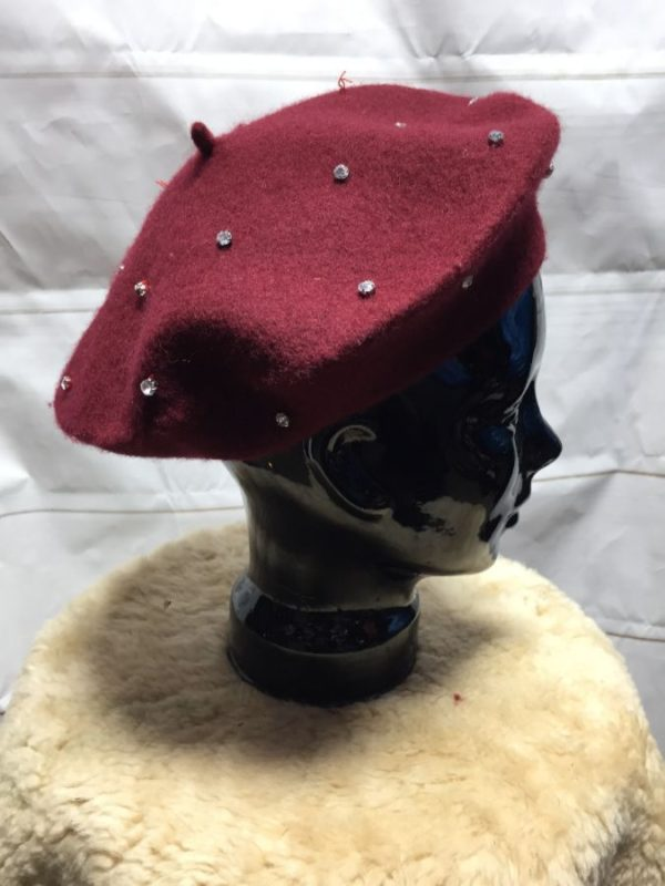 product details: CLASSIC WOOL BERET WITH GLASS RHINESTONES SEWN IN - AS IS photo