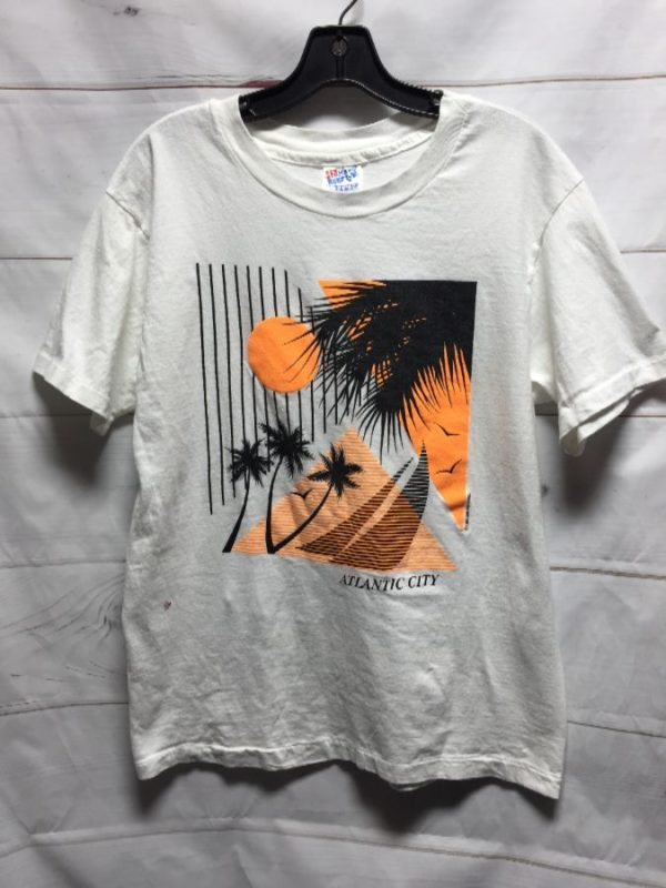 product details: COOL 1980S NEON ATLANTIC CITY PALM TREE SUNSET GRAPHIC  T SHIRT photo