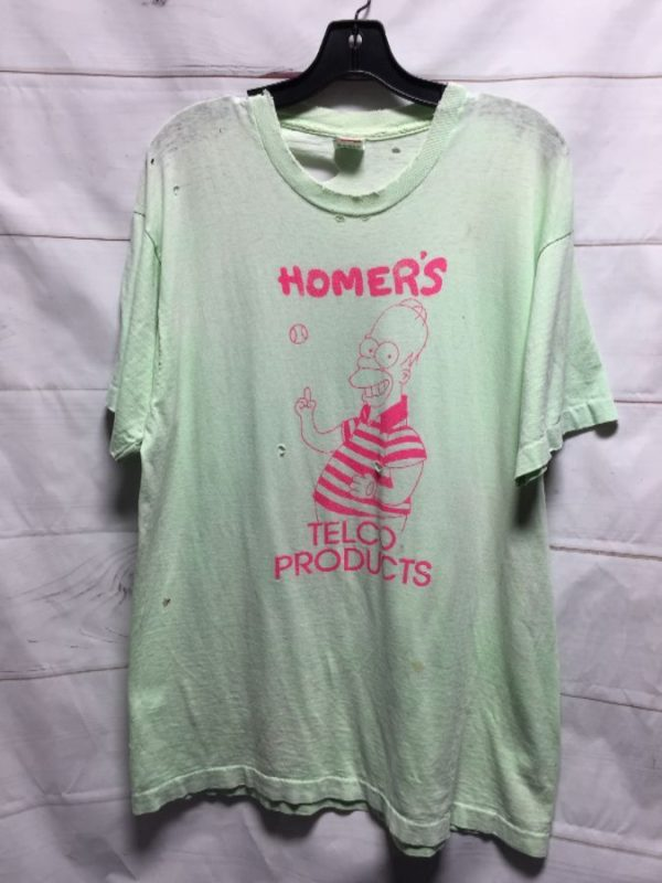 product details: FULLY DISTRESSED HOMERS TELCO PRODUCTS T SHIRT SOFT PAPER THIN - AS IS photo