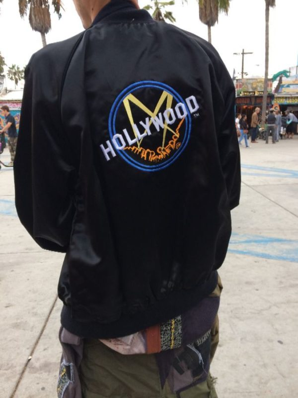 product details: 1980S ACETATE BUTTON UP JACKET W/ EMBROIDERED HOLLYWOOD LOGO photo
