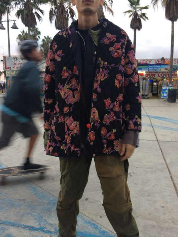 product details: REVERSIBLE QUILTED FLORAL & DRAGON PRINT MIDI JACKET photo