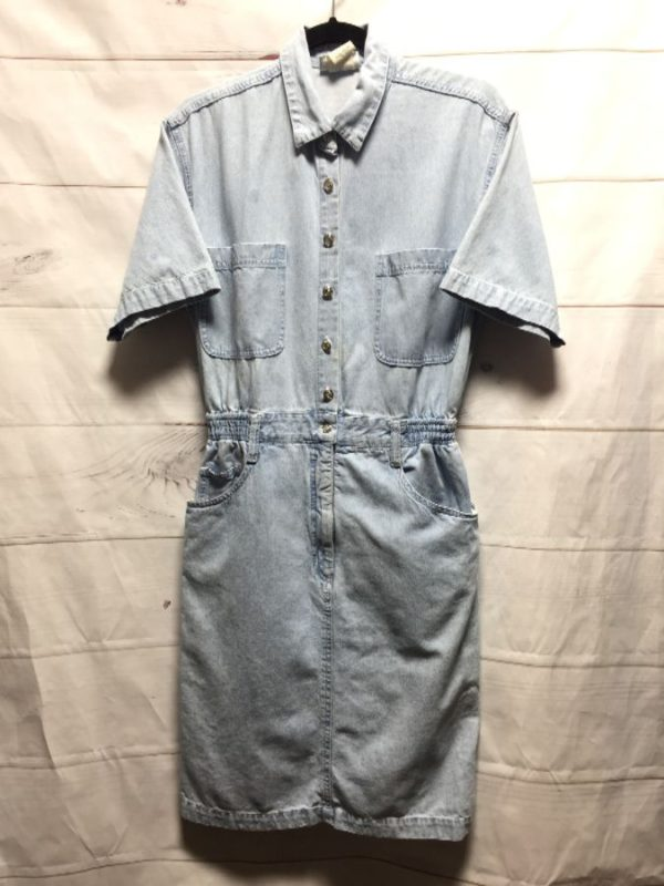 product details: DENIM BUTTON DRESS ELASTIC WAIST - AS IS photo
