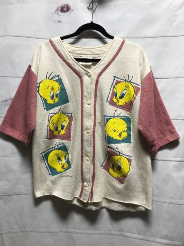product details: DISTRESSED BASEBALL JERSEY TWEETY BIRD 1994 AS-IS photo