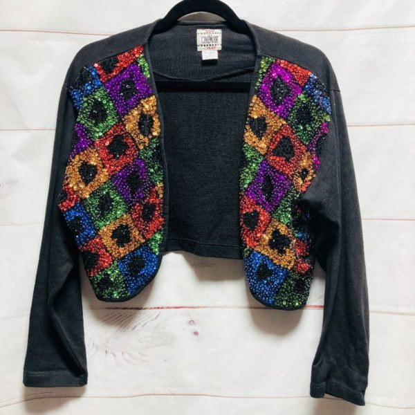 product details: MADONNA STYLE MULTICOLORED SEQUIN SHRUG JACKET - AS IS photo