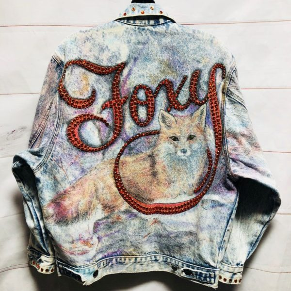 product details: AUTHENTIC TONY ALAMO DENIM JACKET FOXY EMBELLISHED GRAPHIC #RARE photo