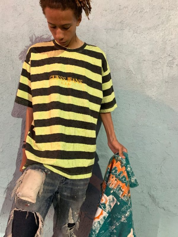 product details: 1990S CLASSIC EMBROIDERED GUESS LOGO STRIPED TSHIRT GUESS JEANS U.S.A STRIPES AND PAISLEY PRINT RARE photo