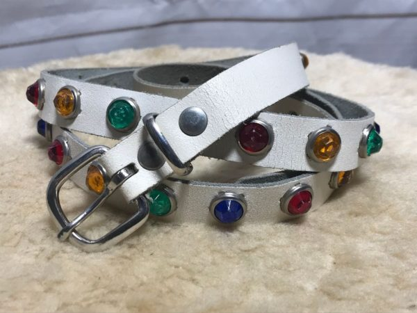 product details: 1980S SUPER NARROW WHITE LEATHER BELT MULTI COLORED JEWELED STUDS photo