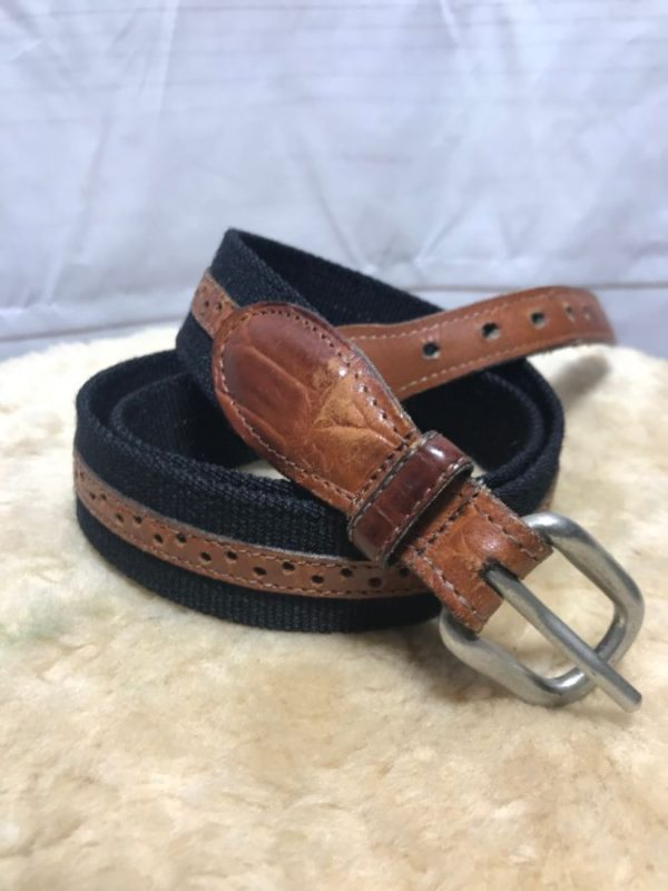 product details: CLASSIC CANVAS & LEATHER BELT SOLID BRASS BUCKLE photo
