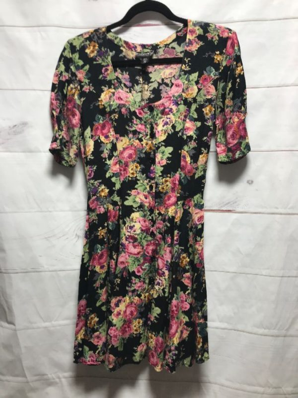 product details: 1980S-90S SS BD MINI DRESS RAYON FLORAL PRINT PADDED SHOULDERS 7-75 photo