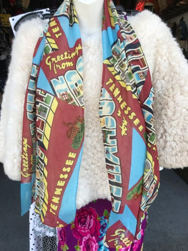 product details: GREETINGS FROM NASHVILLE 100% SILK SCARF photo