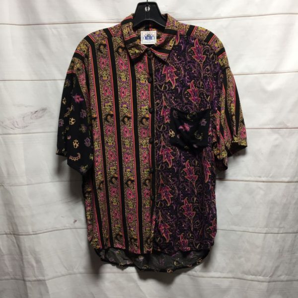 product details: MULTI PATTERN  PAISLEY PRINTED RAYON BUTTON UP BLOUSE photo