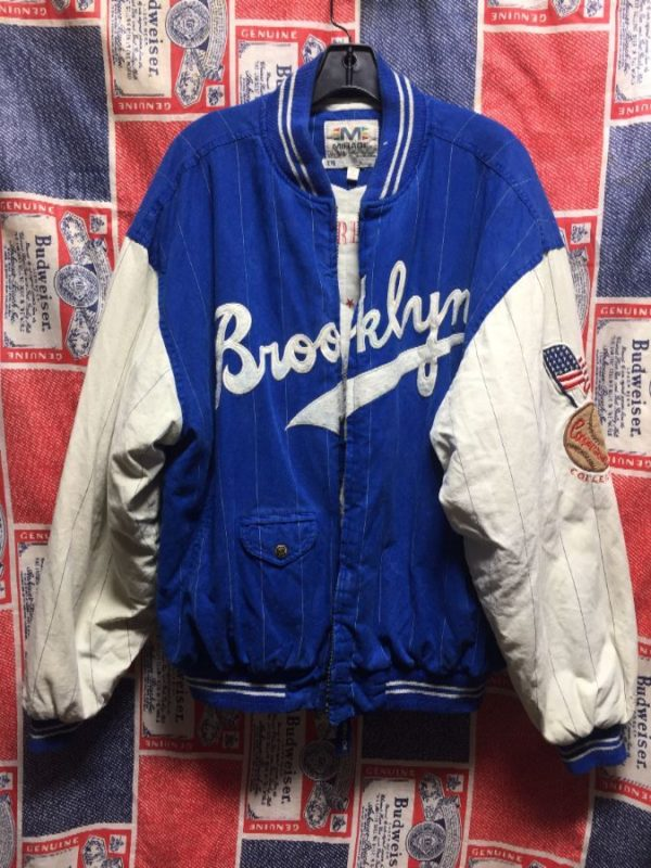 product details: THROWBACK BROOKLYN DODGERS BASEBALL PINSTRIPED COTTON VARSITY JACKET - AS IS photo