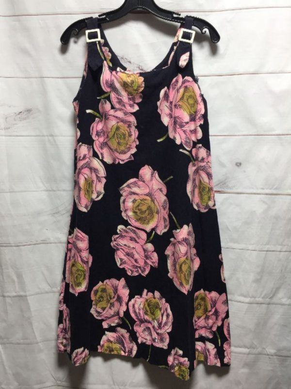 product details: 1960S-70S COTTON PINK FLORAL PRINT BUCKLE STRAP TENT DRESS - AS IS photo