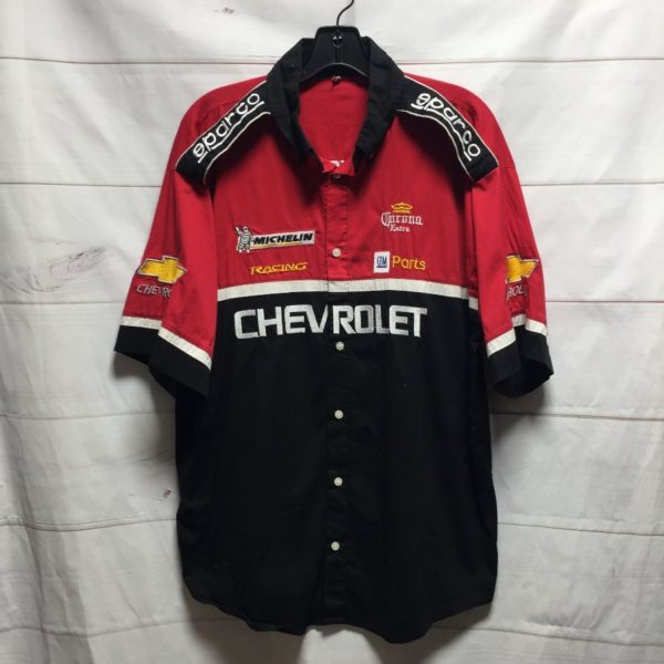 product details: EMBROIDERED CHEVROLET RACING SHORT SLEEVE BUTTON UP NASCAR SHIRT photo