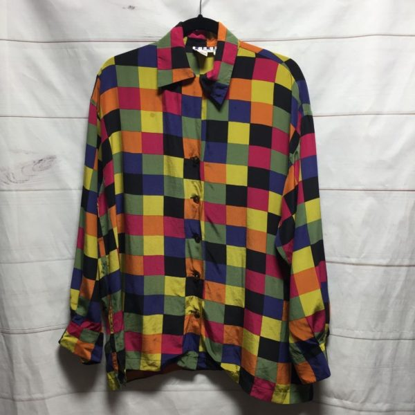 product details: 100% SILK COLOR BLOCK LONG SLEEVE BUTTON UP BLOUSE - AS IS photo