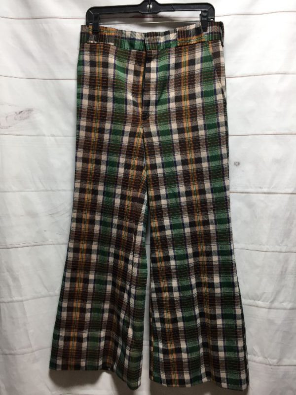 product details: RAD 1970S PLAID PRINT POLYESTER WIDE LEG FLARED TROUSERS photo