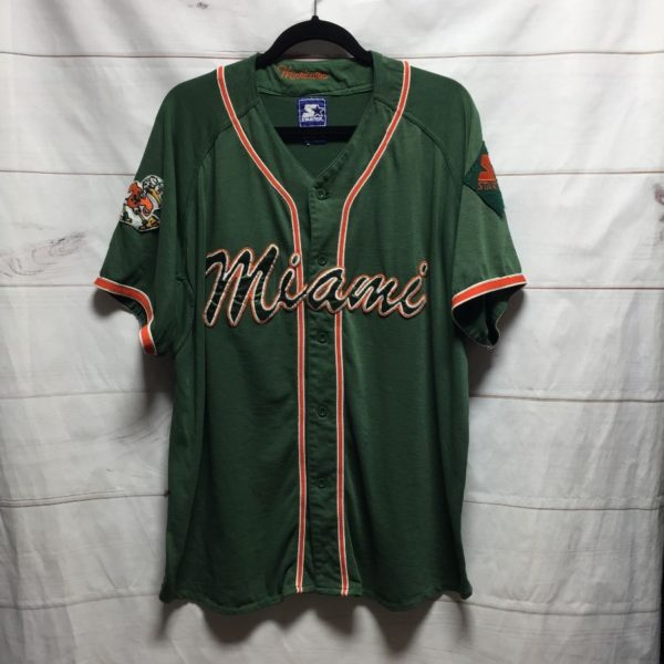 product details: SUPER VINTAGE COTTON EMBROIDERED & STITCHED MIAMI HURRICANES BASEBALL JERSEY photo