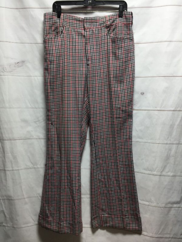 product details: RAD 1970S FLARED & CUFFED GINGHAM TROUSERS photo