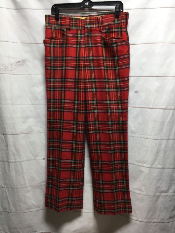product details: RAD FUNKY 1970S TARTAN PLAID GOLF TROUSER PANTS WOOL BLEND photo