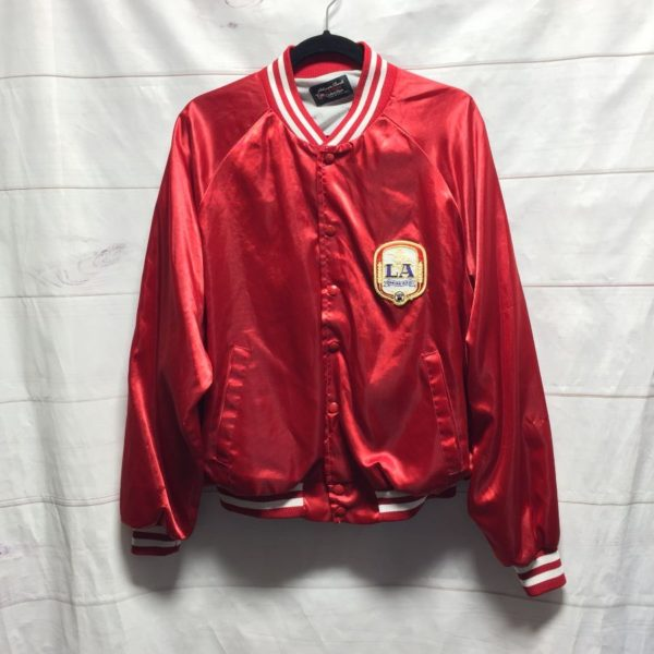 product details: LA ANHEUSER BUSCH BEER SATIN BASEBALL BOMBER JACKET - AS IS photo