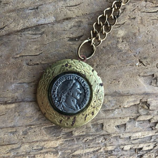 product details: LONG RUSTIC ANTIQUE CHAIN NECKLACE WITH COIN LOCKET photo