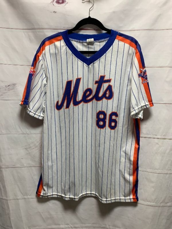 product details: MLB NEW YORK METS PINSTRIPE JERSEY 25TH ANNIVERSARY 1962-1986 AS-IS photo
