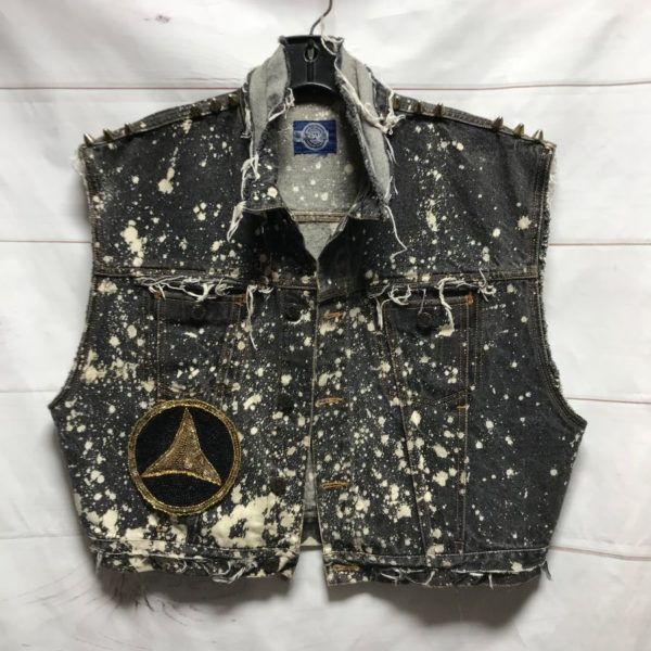 product details: CROPPED FRAYED & BLEACHED OUT DENIM VEST LARGE SEQUIN MERCEDES PATCHES STUDDED SHOULDERS photo