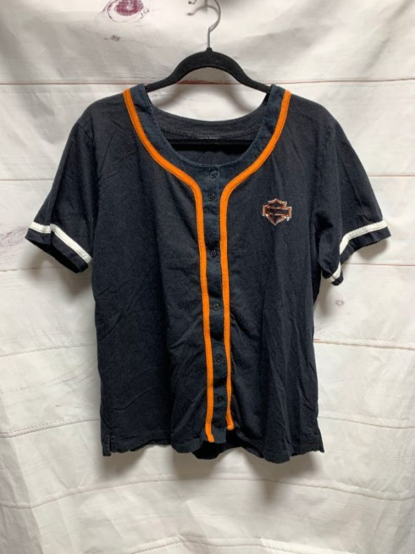 product details: HARLEY DAVIDSON MOTORCYCLES BUTTON UP BASEBALL JERSEY photo
