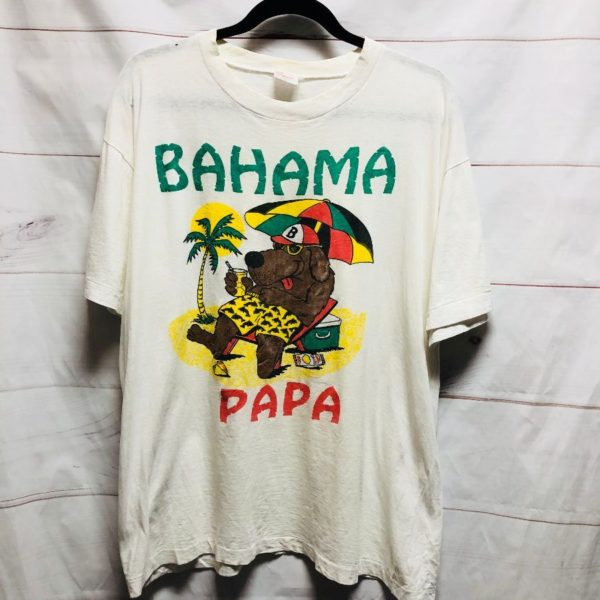 product details: RAD SUPER THIN VINTAGE TSHIRT BAHAMA PAPA DOG ON THE BEACH GRAPHIC - AS IS photo