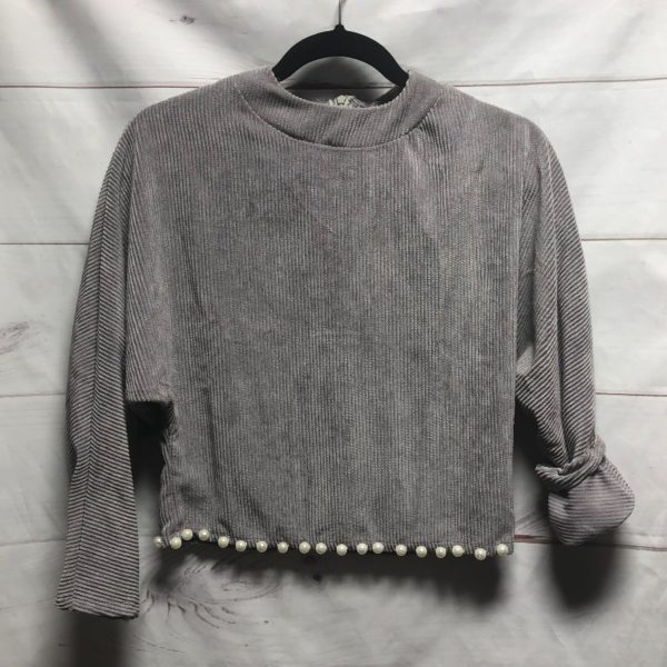 product details: BOXY VELVET CORDUROY SWEATER WITH PEARL EMBELLISHMENT photo