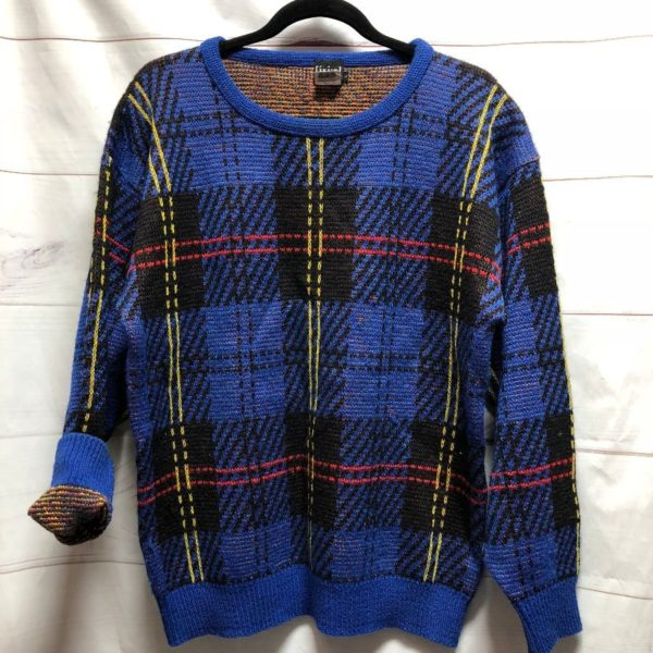 product details: 1980S KNIT PULLOVER FUNKY MONDRIAN STYLE PLAID photo