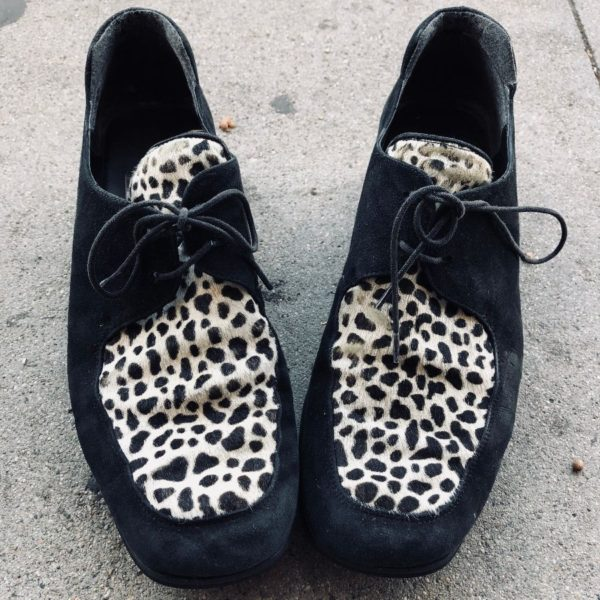 product details: SUEDE BOOTS WITH HORSE HAIR LEOPARD PATTERN AS-IS photo
